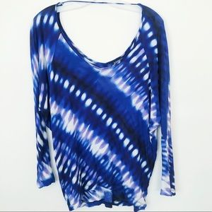 EXPRESS WATERCOLOR TIE DYE SCOOP NECK SHIRT SMALL